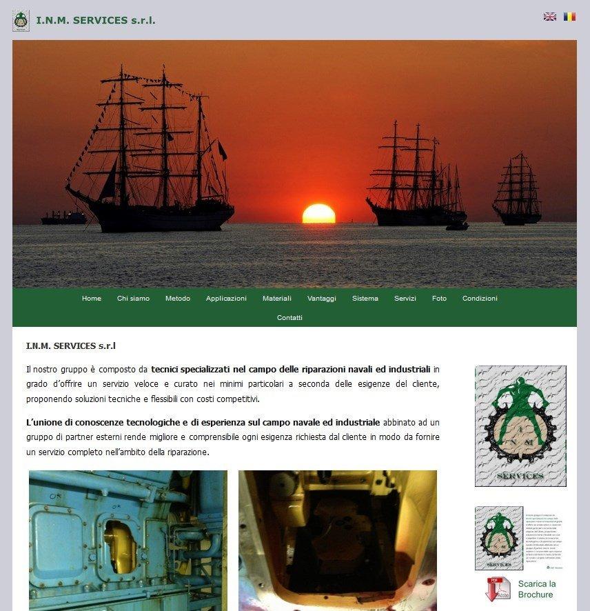 Versione Mobile e Desktop Sito INM Services riparazioni navali